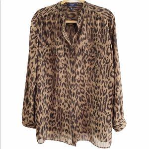 Chaps leopard print button down blouse. 2X